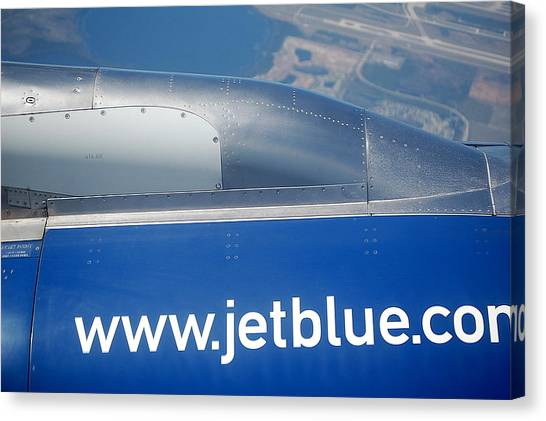 Jetblue Canvas Print - Jet Blue Airline by Linda Rae Cuthbertson
