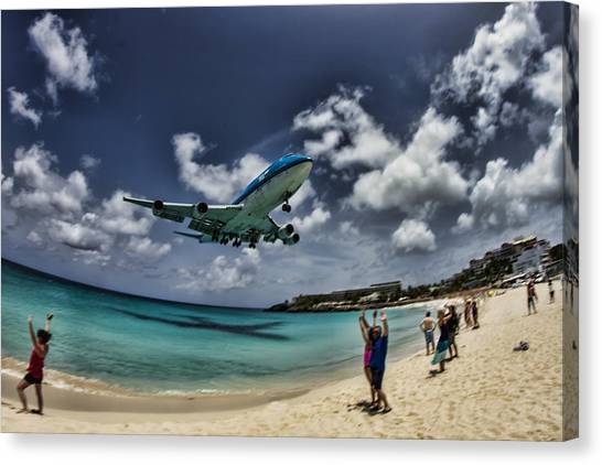 Jet Landing Over Maho Beach Canvas Print