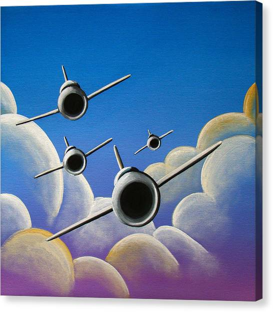 Airplanes Canvas Print - Jet Quartet by Cindy Thornton