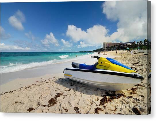 Jet Skis Canvas Print - Jet Ski On The Beach At Atlantis Resort by Amy Cicconi