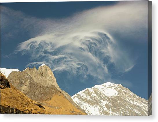 Himalayas Canvas Print - Jet Stream Winds Over The Himalayas by Ashley Cooper