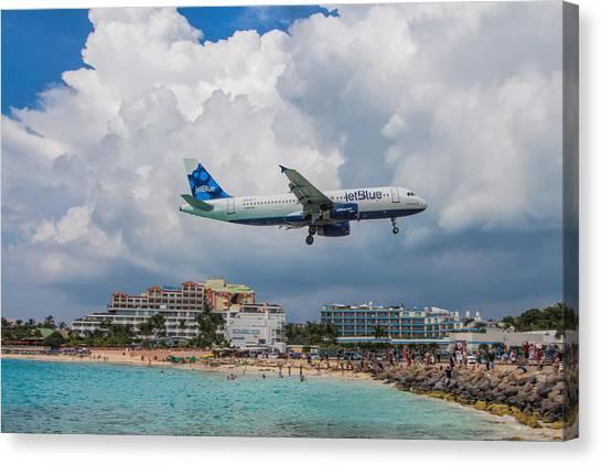 Jetblue Canvas Print - jetBlue in St. Maarten by David Gleeson