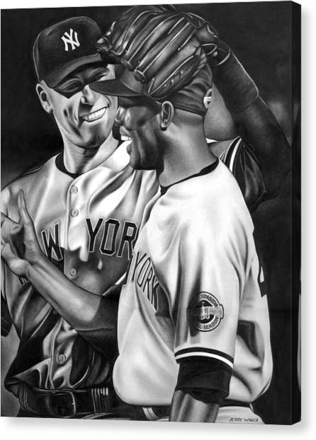 Derek Jeter Canvas Print - Jeter And Mariano by Jerry Winick