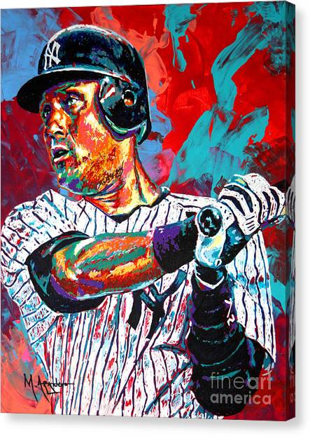 New York Yankees Canvas Print - Jeter At Bat by Maria Arango