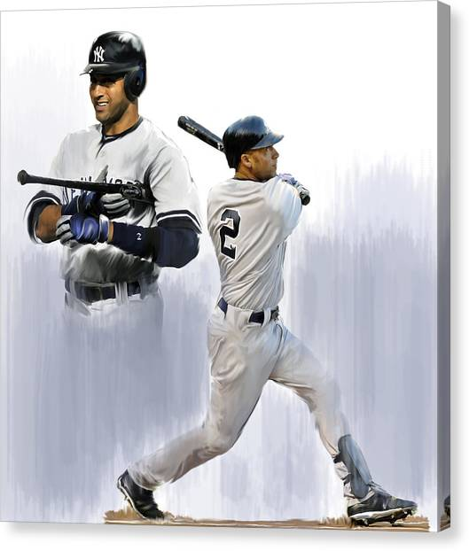 Derek Jeter Canvas Print - Jeter V Derek Jeter by Iconic Images Art Gallery David Pucciarelli
