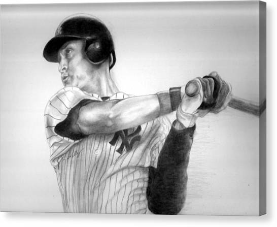 Derek Jeter Canvas Print - Jeter by Kathleen Kelly Thompson