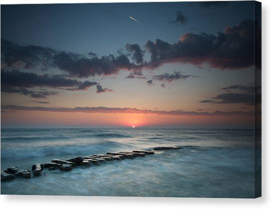 Jetty And The Sun Canvas Print