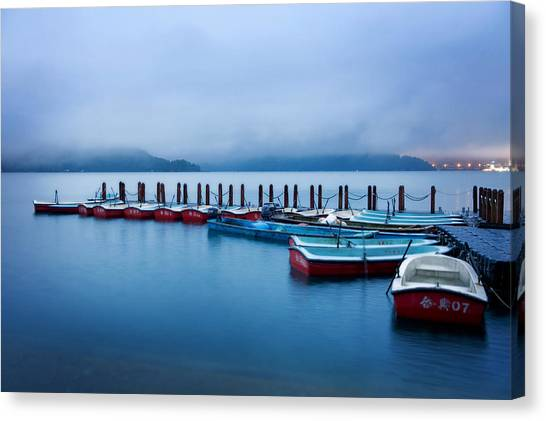 Canvas Print featuring the photograph Jetty At Sun Moon Lake by Yew Kwang