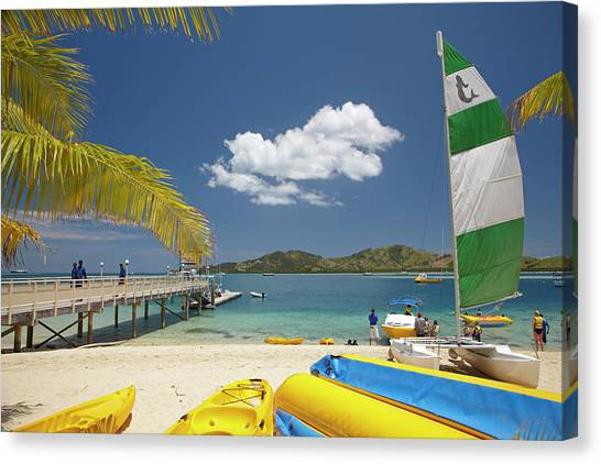 Catamarans Canvas Print - Jetty, Boats And Hobie Cat, Plantation by David Wall