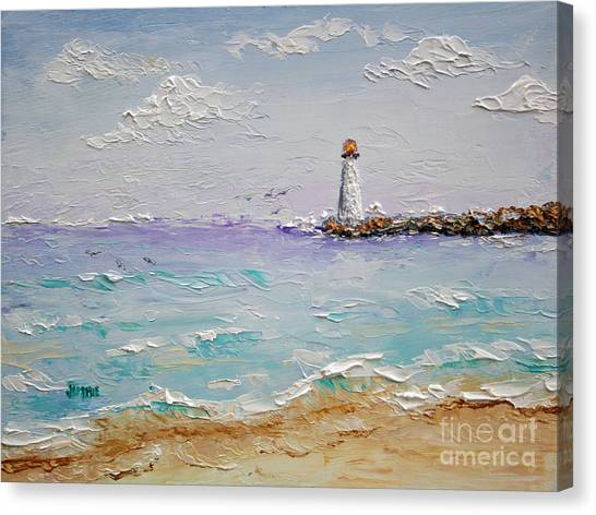 Jetty Lighthouse Canvas Print