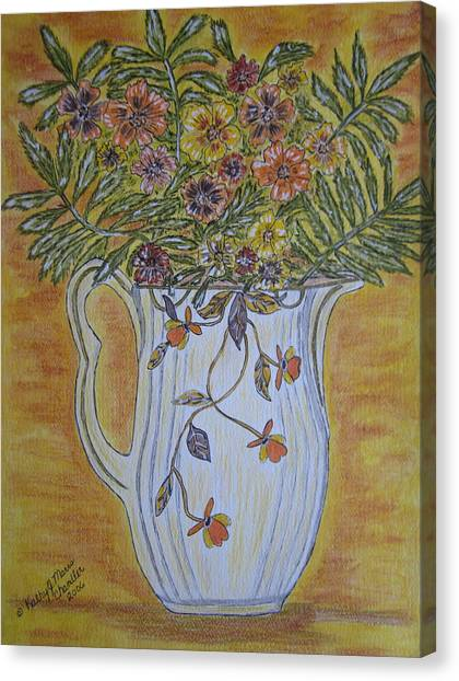 Jewel Tea Pitcher With Marigolds Canvas Print