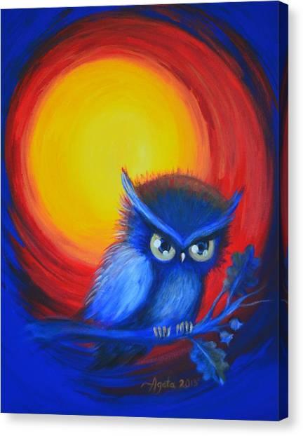 Jewel-tone Vortex With Owl Canvas Print