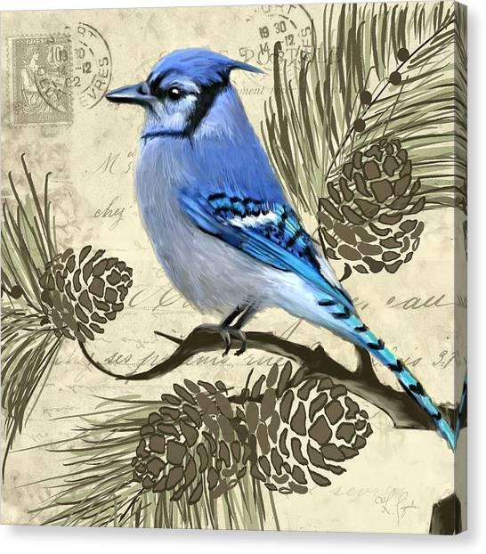 Bluejays Canvas Print - Jeweled Blue by Lourry Legarde