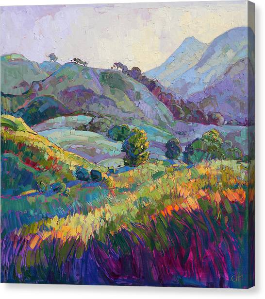 Wine Country Canvas Print - Jeweled Hills by Erin Hanson