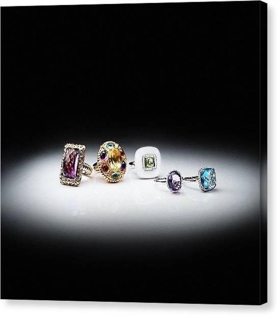 Gemstones Canvas Print - #jewelry#rings#gemstone#bohemy#diamonds by Yanek Che