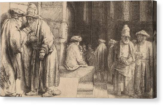 Baroque Canvas Print - Jews In The Synagogue by Rembrandt