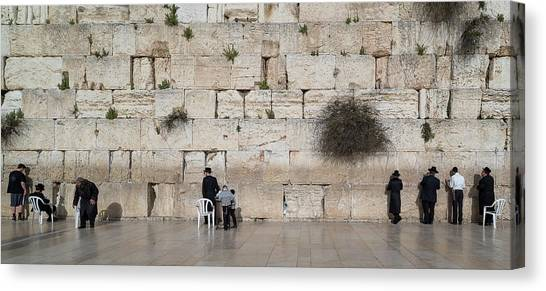 House Of Worship Canvas Print - Jews Praying At Western Wall by Panoramic Images