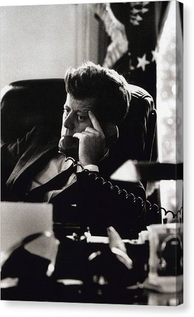 Desks Canvas Print - John F. Kennedy By Arthur Rickerby by Retro Images Archive