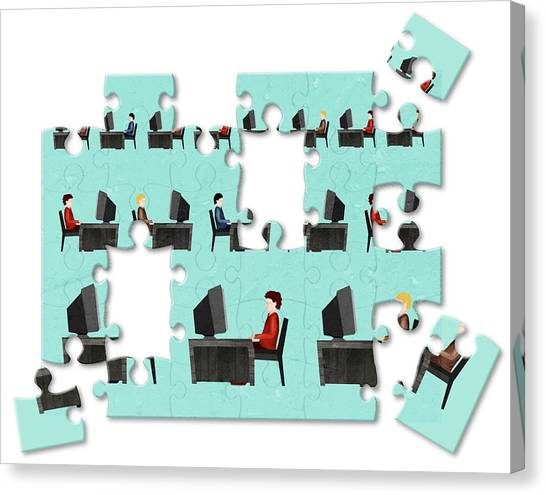 Jigsaw Puzzle Of Businessmen Canvas Print by Fanatic Studio / Science Photo Library