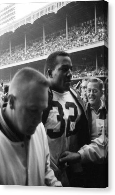 Running Backs Canvas Print - Jim Brown After Game Fans Clapping by Retro Images Archive