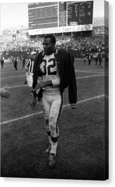 Running Backs Canvas Print - Jim Brown After Game by Retro Images Archive