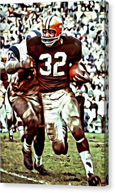 Running Backs Canvas Print - Jim Brown by Florian Rodarte