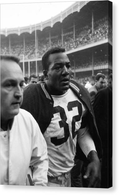 Running Backs Canvas Print - Jim Brown Post Game  by Retro Images Archive