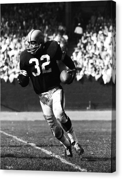 Running Backs Canvas Print - Jim Brown Running Down Field by Retro Images Archive