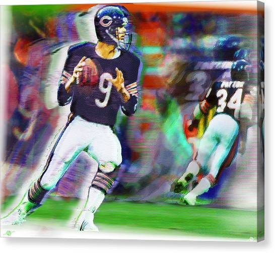 Walter Payton Canvas Print - Jim Mcmahon With Walter Payton Chicago Bears by Tony Rubino