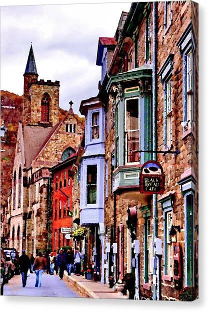Jim Thorpe Pa Stone Row Canvas Print by Jacqueline M Lewis
