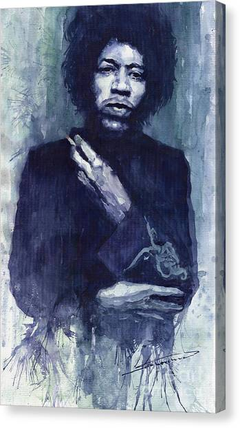 Watercolour Canvas Print - Jimi Hendrix 01 by Yuriy Shevchuk