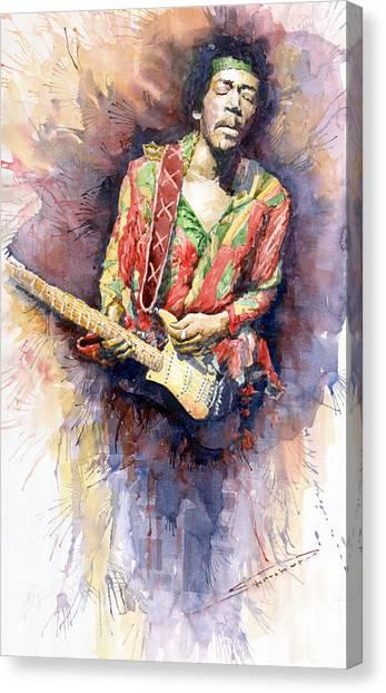 Jimi Hendrix Canvas Print - Jimi Hendrix 09 by Yuriy Shevchuk
