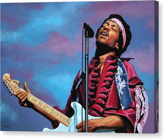 Flames Canvas Print - Jimi Hendrix 2 by Paul Meijering