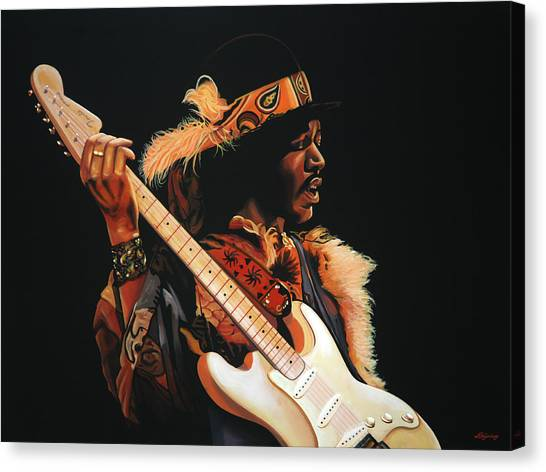 Flames Canvas Print - Jimi Hendrix 3 by Paul Meijering