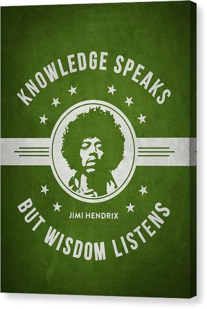 Jimi Hendrix Canvas Print - Jimi Hendrix - Green by Aged Pixel