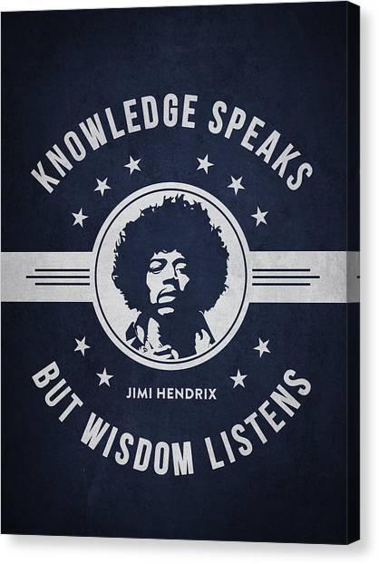 Jimi Hendrix Canvas Print - Jimi Hendrix - Navy Blue by Aged Pixel