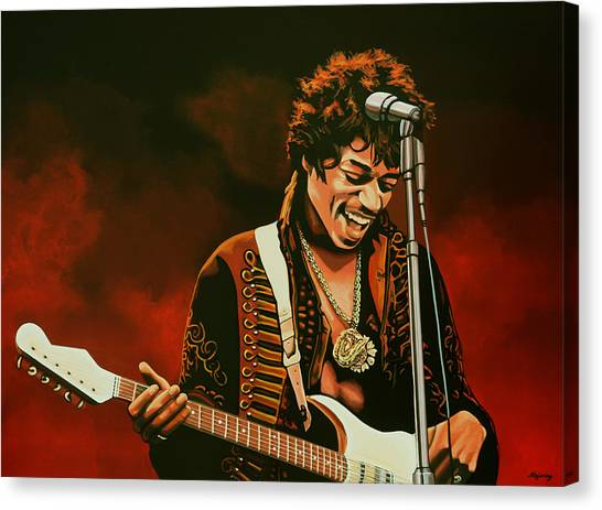 Flames Canvas Print - Jimi Hendrix Painting by Paul Meijering