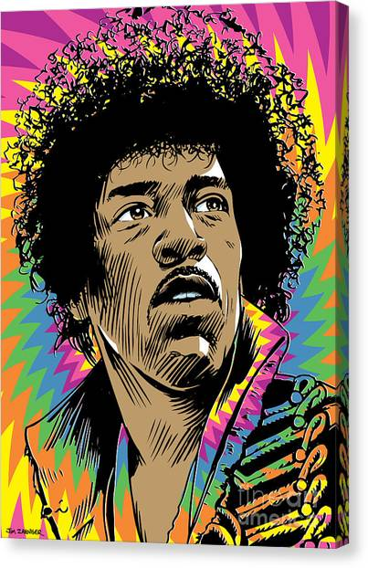 Rock Music Canvas Print - Jimi Hendrix Pop Art by Jim Zahniser