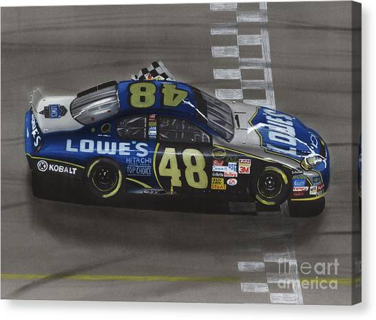 Nascar Canvas Print - Jimmie Johnson Wins by Paul Kuras