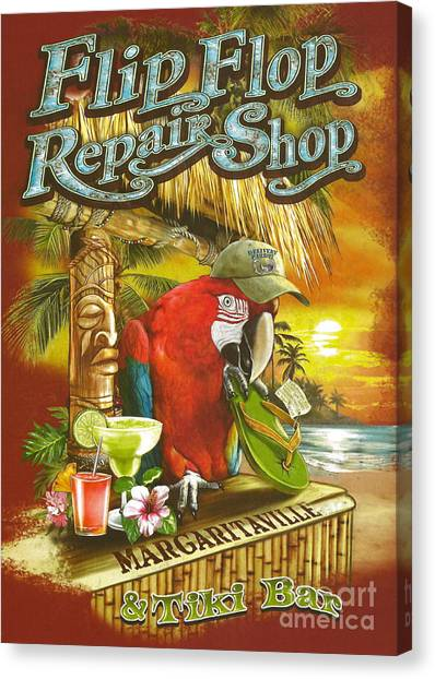 Concerts Canvas Print - Jimmy Buffett's Flip Flop Repair Shop by Desiderata Gallery