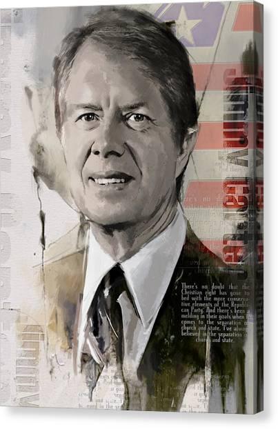 Lyndon Johnson Canvas Print - Jimmy Carter by Corporate Art Task Force
