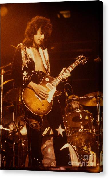 Jimmy Page Canvas Print - Jimmy Page 1975 by David Plastik