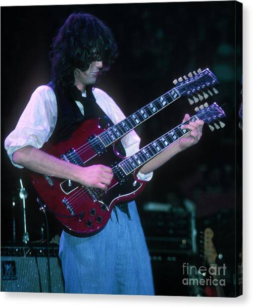 Jimmy Page Canvas Print - Jimmy Page 1983 by David Plastik