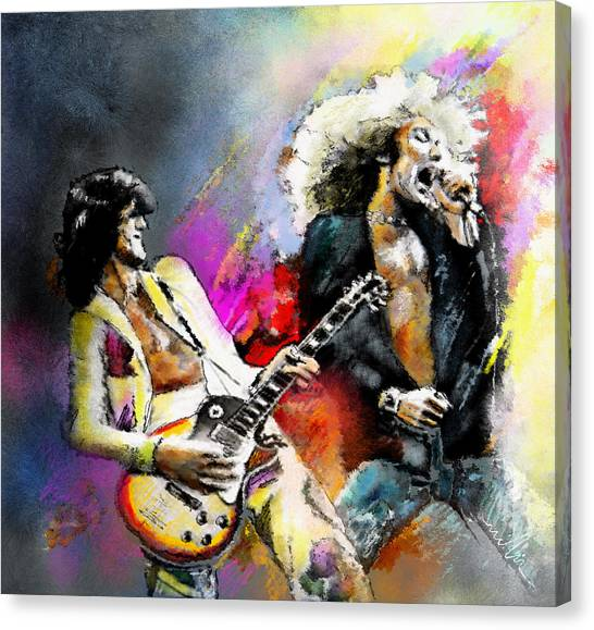 Robert Plant Canvas Print - Jimmy Page And Robert Plant Led Zeppelin by Miki De Goodaboom