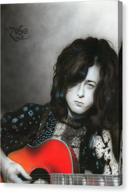Led Zepplin Canvas Print - Jimmy Page by Christian Chapman Art
