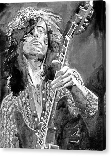 Led Zepplin Canvas Print - Jimmy Page Mono by David Lloyd Glover