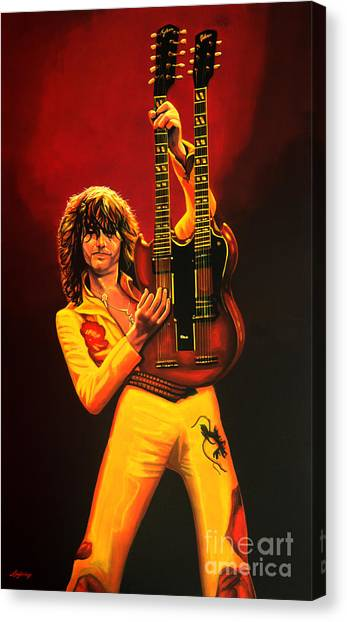 Led Zepplin Canvas Print - Jimmy Page Painting by Paul Meijering