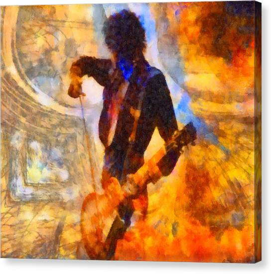 Robert Plant Canvas Print - Jimmy Page Playing Guitar With Bow by Dan Sproul