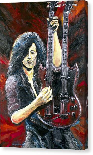 Led Zepplin Canvas Print - Jimmy Page The Song Remains The Same by Mike Underwood