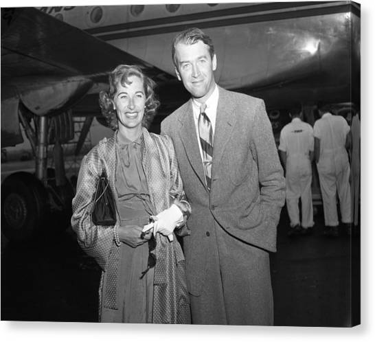 Gloria Canvas Print - Jimmy Stewart And Wife by Retro Images Archive